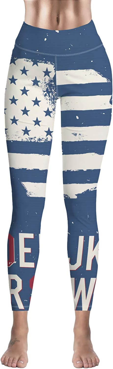 Women High Waisted Leggings Independence Day American Flag Vintage Style