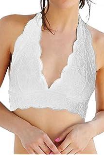 9a919b1207ced Faithtur Sexy Women Halter Lace Floral Unpadded Bra Cami Bustier Bralette  Vest Crop Top