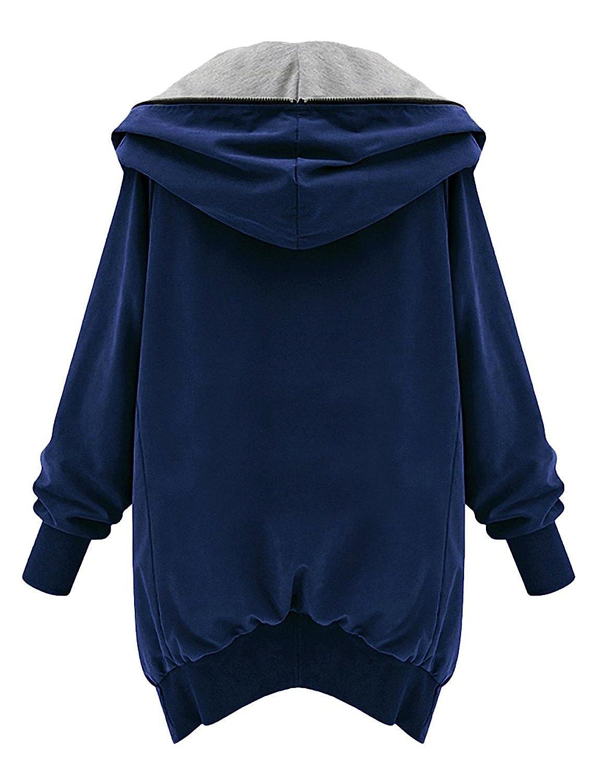 M-Queen Mujeres Abrigo de Manga Larga con Capucha Coat Jacket Chaqueta Gabardina Impermeable (M, Azul): Amazon.es: Ropa y accesorios