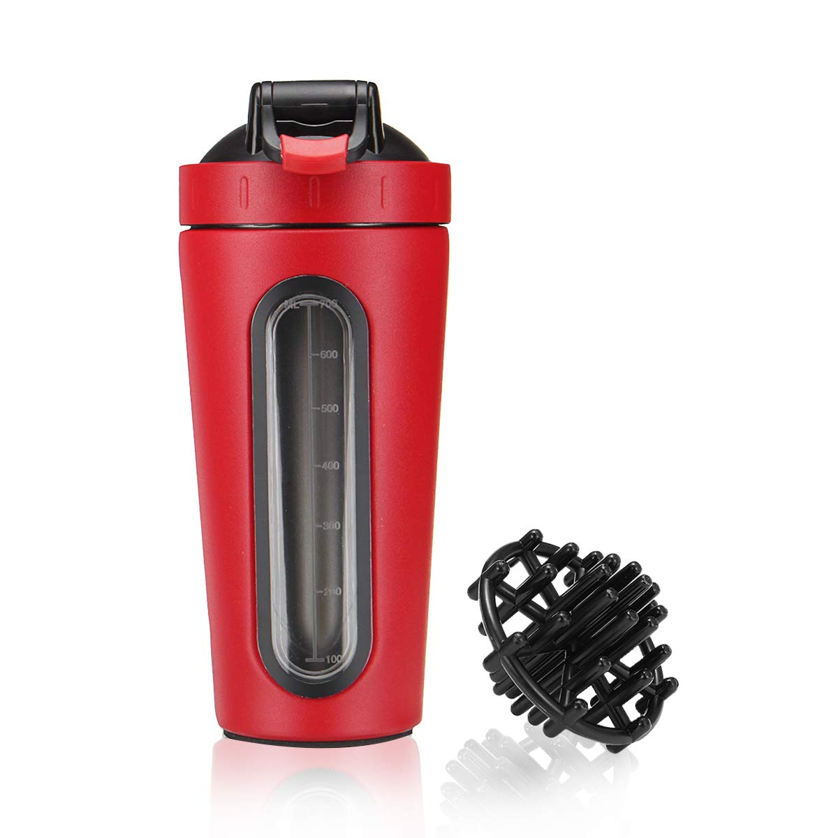 Slimerence Protein Shaker Bottle, Stainless Steel Mixer Bottle with Visual Window, Dishwasher Safe Leak Proof BPA Free Blender Cup for Gym Workout Fitness, 28oz Grind Red
