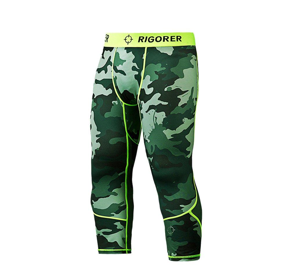 Rigorer Men's Running Fitness 3/4 Tights Compression Base Layer Capri Pants Leggings