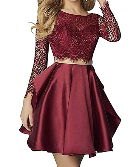 589b7742b8 MKbridal Women s Two Piece Lace Homecoming Dress Long Sleeve Satin Cocktail  Dresses Party Gowns Burgundy