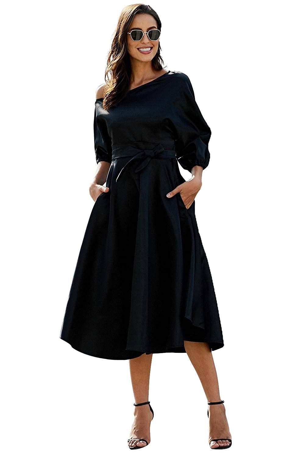 Buy Boldgal Girl S One Shoulder Maxi Petite Robe Dress Black X Large At Amazon In