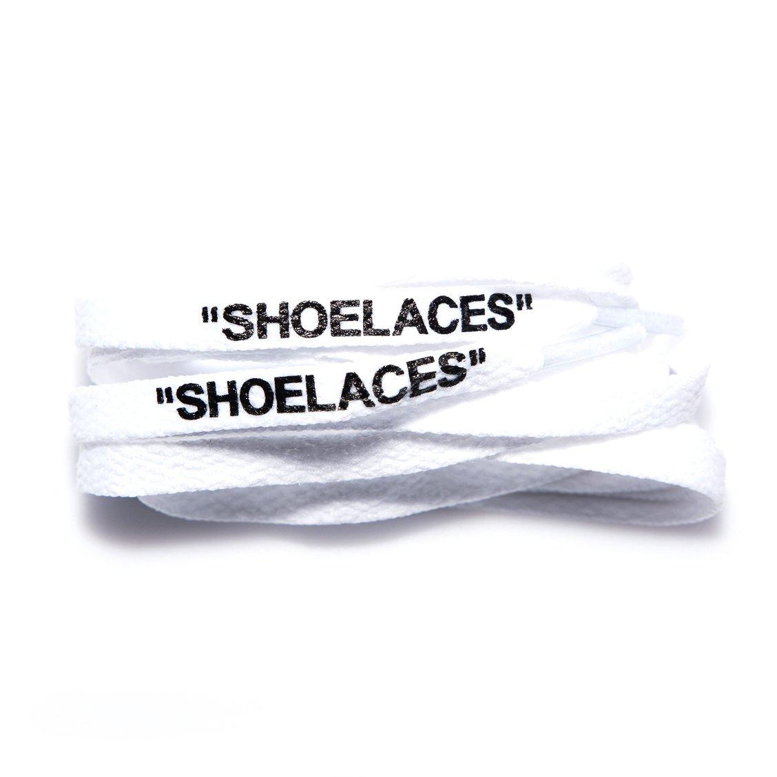 xxiii - ''Shoelaces'' OFF WHITE INSPIRED Replica Shoe Laces Cotton Flat Laces Swap Font Printed Text AJ1 Jordan 1 Air Max