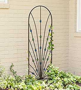 Peacock Garden Trellis with Glass Gems, 24 W x 72 H