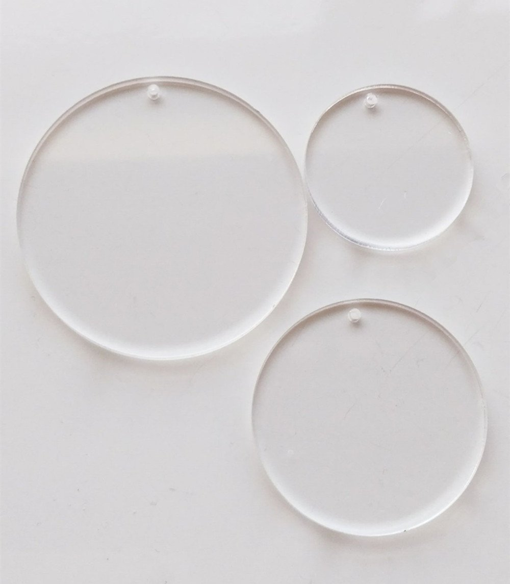 2.5 inch HESIN Set of 25 Clear Acrylic Keychains Blanks for Vinyl Disc Enough to Start Making Some Serious Side Ornaments and Monogrammed Key Chains or Jewelry Thickness 1//8