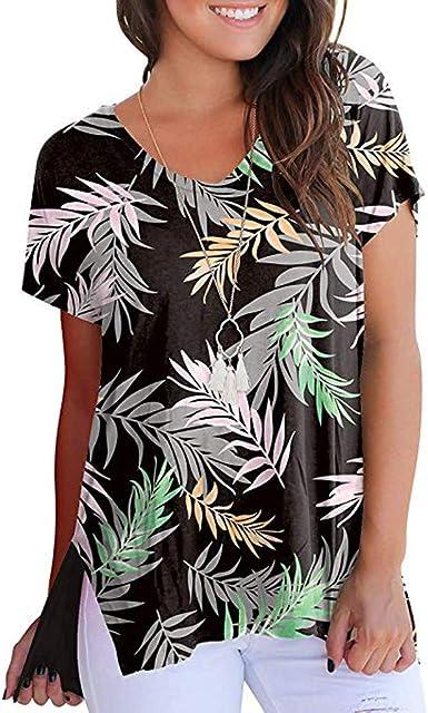 Mujer Camiseta b/ásica Floral de Manga Corta Camisa Casual de Verano