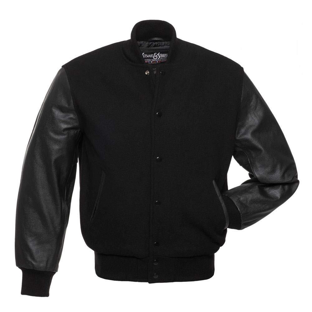 C112-2XL Varsity Letterman JacketBlack Wool & Black Leather by Stewart & Strauss