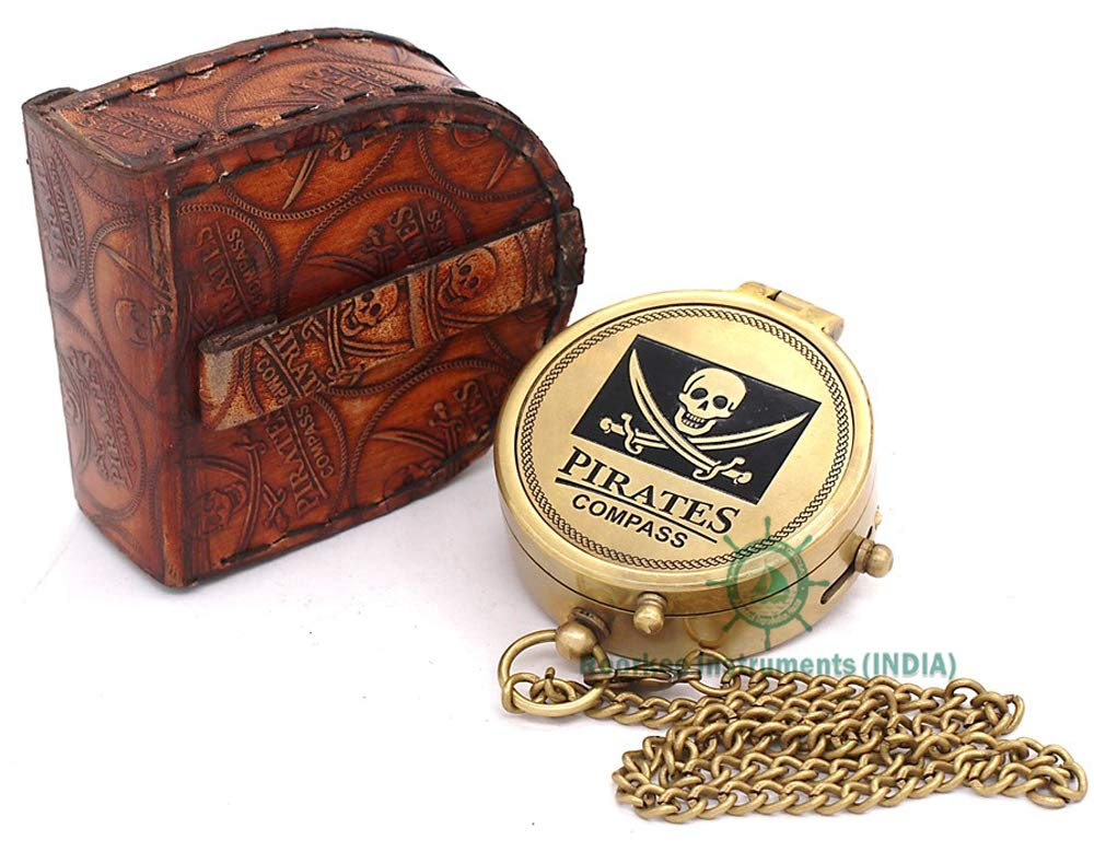 Roorkee Instruments India Solid Brass Pirate Compass with Stamped Leather Case
