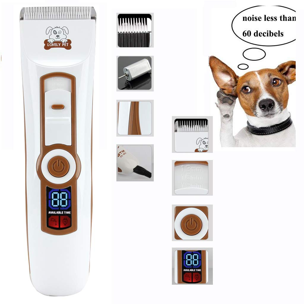 Dog Grooming Clippers, Rechargeable Cordless Pet Hair Clipper Kit for Dogs and Other Animals with Low Noise, Low Vibration White