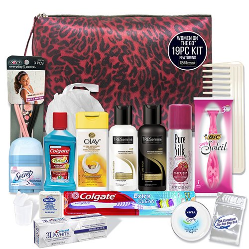 Personal Care Travel Kit - CONVENIENCE KITS Women's Premium Travel & Gym Kit, Tresemme, TSA Approved, Gifts for Women, Travel Size Toiletries, Travel Accessories and Essentials, Hygiene Kit, 19-Piece Travel Kit
