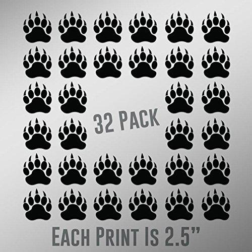 - CMI ND028 Bear Paw Prints 32-Pack | 2.5-Inches | Premium Quality Black Vinyl