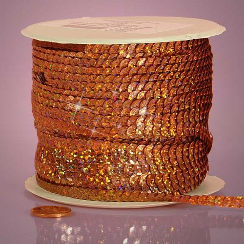 Orange Holographic Faceted Sequins, 6mm X 80Yd Paper Mart BCACS23090