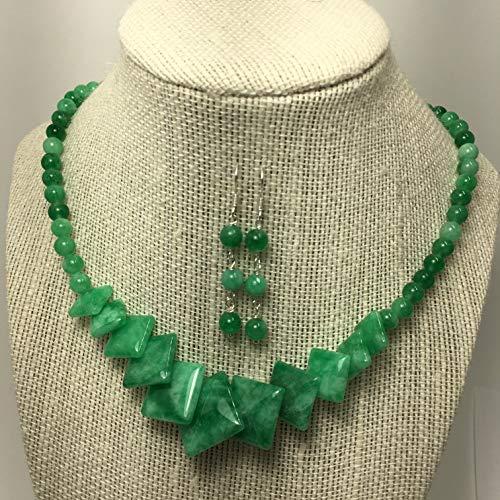 Genuine Green Jade Necklace Earrings Jewelry Set Unique Handmade Jewelry For Women