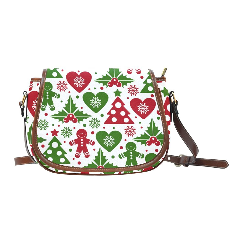 Christmas Tree and Mistletoe Women's Waterproof Cross-body Shoulder Travel Saddle Bag Purse