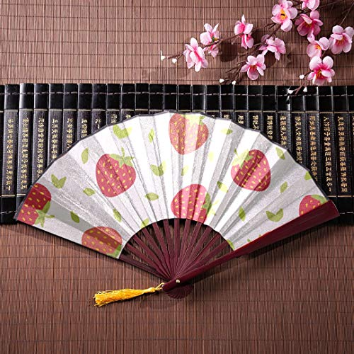 JXCSGBD Japanese Fan Decoration Strawberries Perfect for Wallpapers with Bamboo Frame Tassel Pendant and Cloth Bag Decorative Folding Fans Chinese Fans Folding Fans Japanese Fan Decoration
