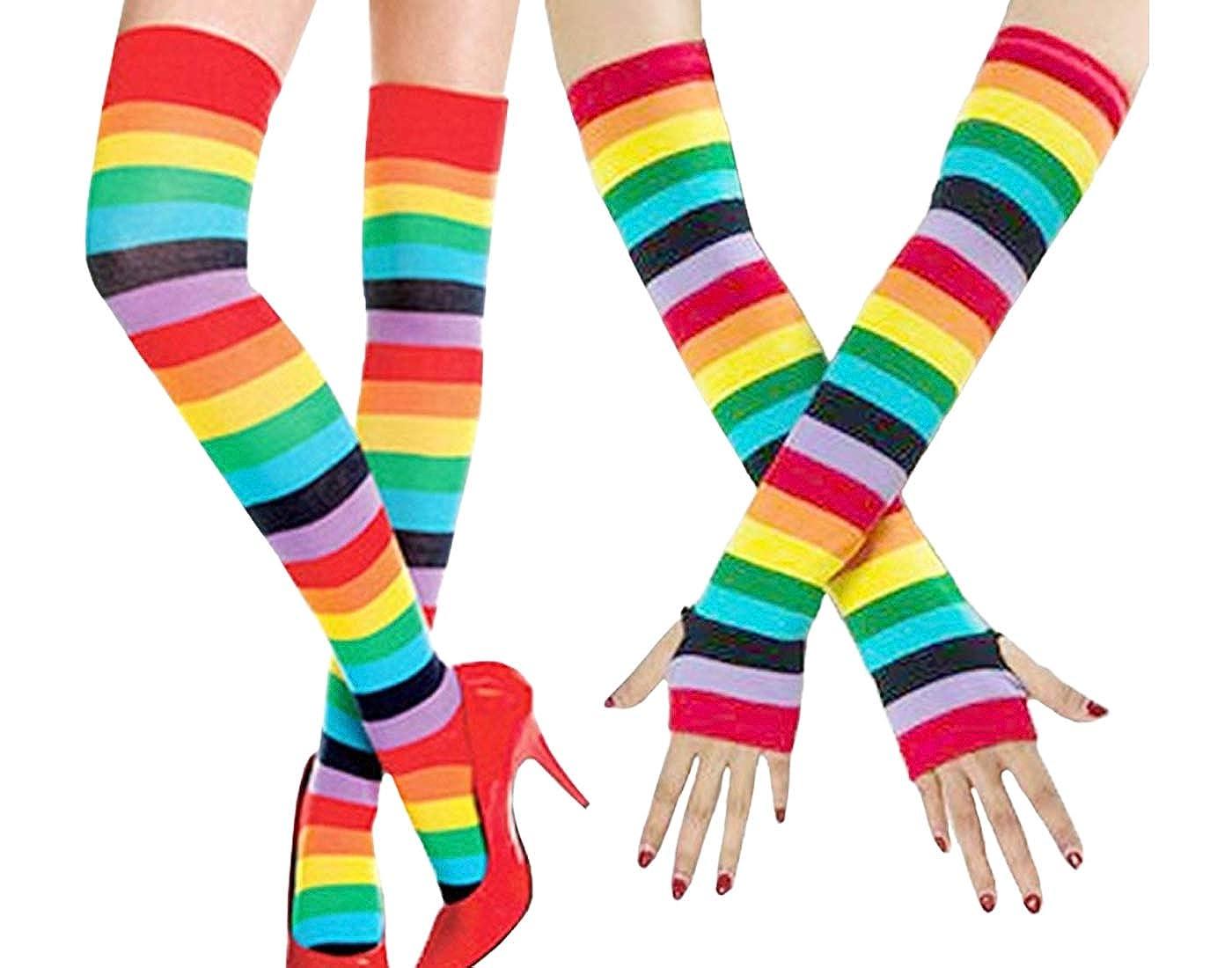 Artown Women High Compression Socks Cute Stripes Leg Warmer - Thigh Socks Sets Party Cosplay Halloween