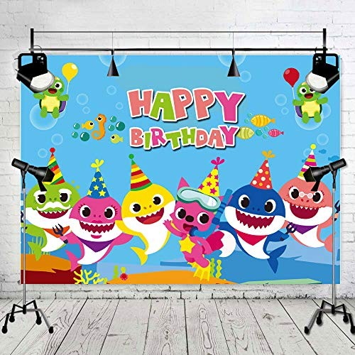 Art Studio 7x5ft Baby Shark Family Photo Background Children Happy Birthday Party Photography Backdrops Cartoon Animals Theme Studio Props Booth Vinyl