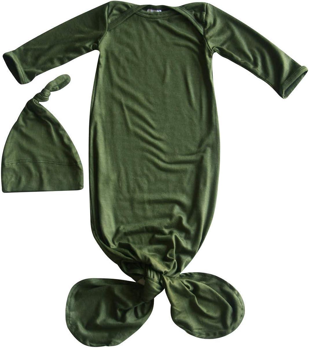 knot hat and no scratch mittens outdoor adventure Baby gown newborn set neutral