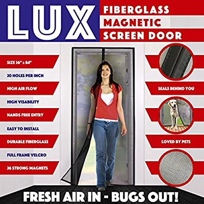 Magnetic Screen Door New 2017 Design Full Frame Velcro & Fiberglass Mesh Not Nylon This Instant Retractable Bug Screen Opens and Closes like Magic it's the Last Screen You'll Need by Lux screens