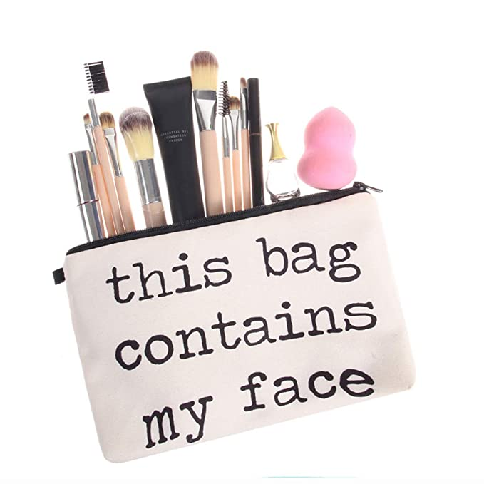 9f318bc34 Amazon.com : Creazy Cosmetic Bag Women Letters Printing Makeup Toiletry  Storage Travel Wash Handbag (C) : Beauty