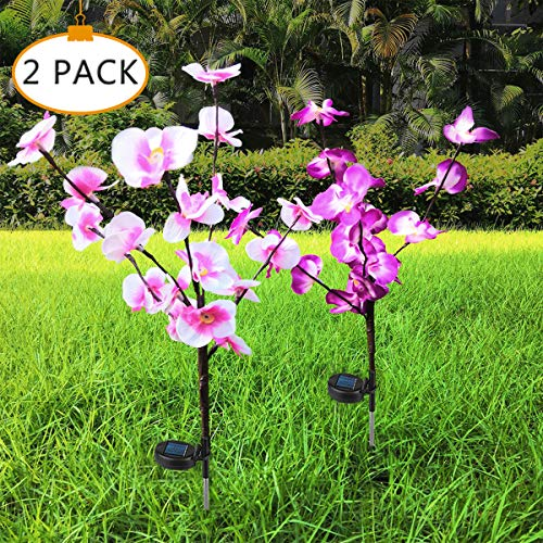 HELESIN Outdoor Solar Garden Stake Lights, 2 Pack Solar Powered Artificial Phalaenopsis Orchid Flower Light, 20 LED Landscape Decorative Lights for Garden, Patio, Backyard, Lawn (Pink and Purple)