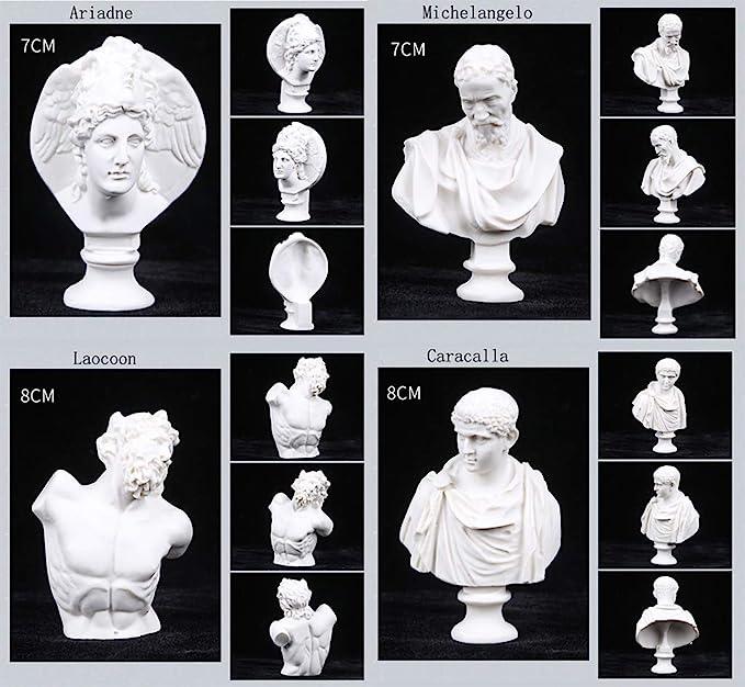 10PCS Mini Sculpture Statue Cast Drawing Sketch Bust Figure Model Decor Artist