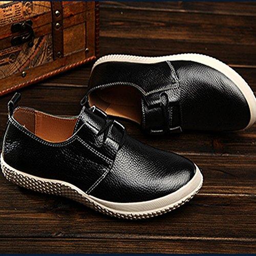 la de Zapatos Primavera Inferior de sin Casuales de Cuero la la de Negro Parte resbalón Hombres los de Zapatos Cordones 01q5zfw