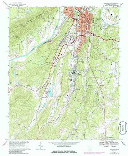 YellowMaps Rome South GA topo map, 1:24000 Scale, 7.5 X 7.5 Minute, Historical, 1968, Updated 1986, 26.8 x 22 in - ()