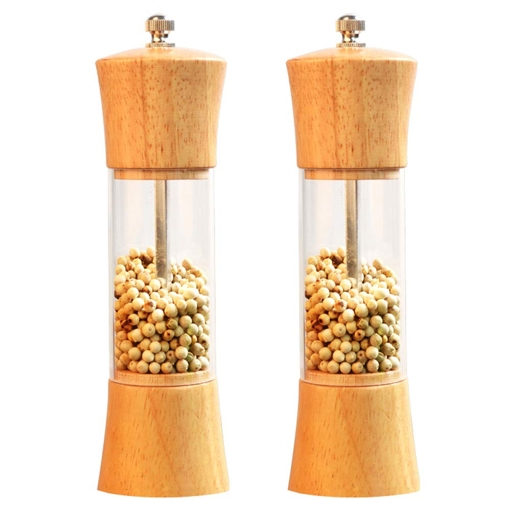 Lelekey Salt and Pepper Grinder Set,6.5'' Wood Pepper Mill and Salt Grinder with Ceramic Rotor Adjustable Coarseness,Acrylic Visible Window Salt and Pepper Shakers,Pack of 2 (Clear)