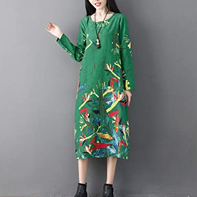Amazon.com: kaifongfu Women Long Dress, Round Neck Long Sleeve Printing Dress: Clothing