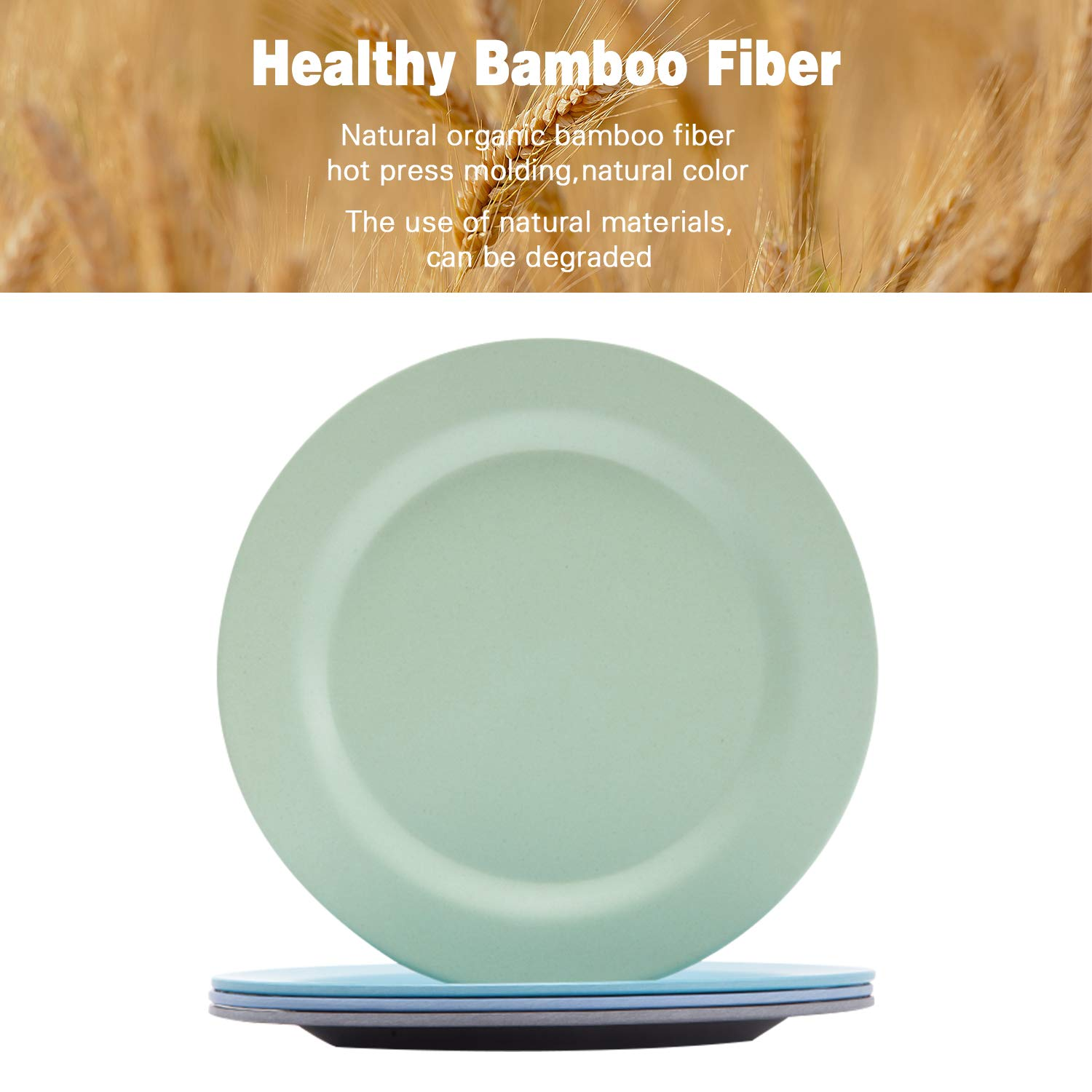 Bamboo Toddler Plates (8'' x 8''), 4pcs Bamboo Kids Plates for Baby Feeding, Non Toxic & Safe Toddler Plates, Eco-Friendly Tableware for Baby Toddler Kids Bamboo Toddler Dishes & Dinnerware by HM-tech