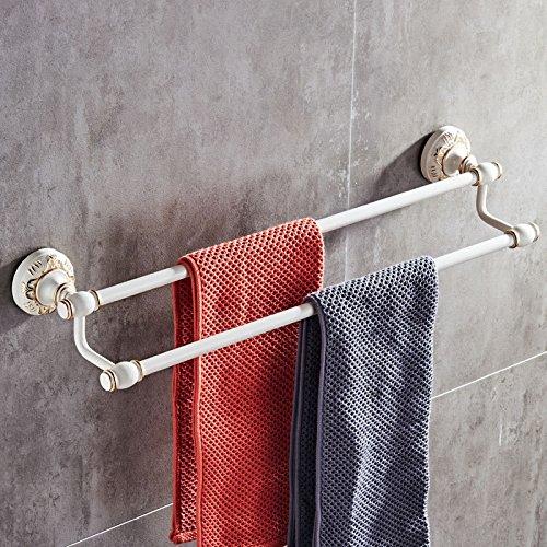 Hlluya Bathroom Accessory Set The Space Aluminum Double bar Towel Rack Black Double bar Towel Rack Antique Hand Carved, Polished Gold, Platinum Carved Double Rod 60cm