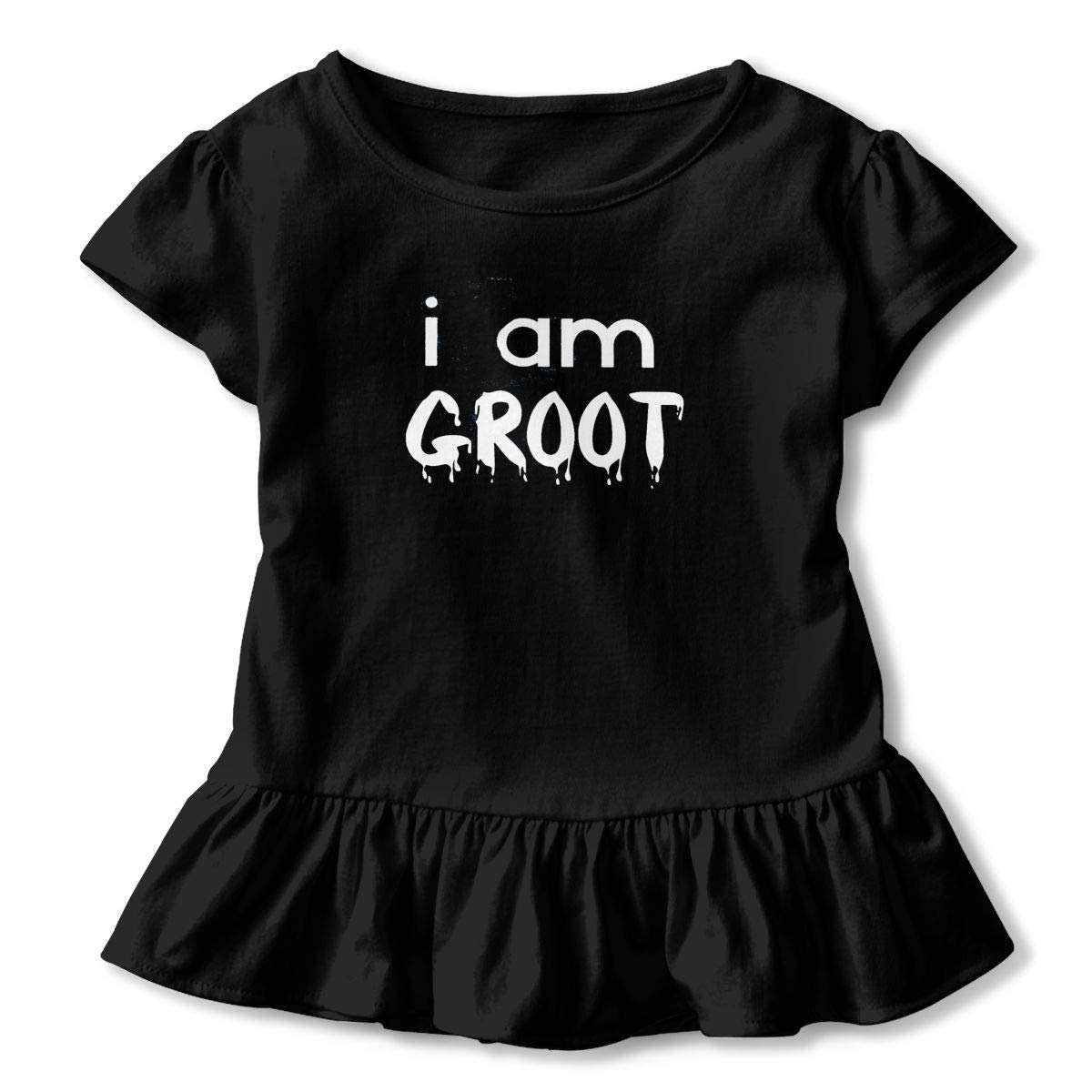 I Am Groot Cute Toddler Kids Girls Short Sleeves Shirts with Ruffles and O-Neck Printed Patterns in Front for Daily Wear Theme Party School Black