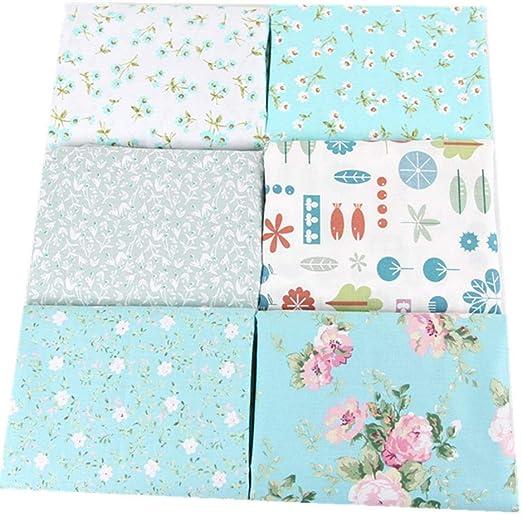 BanBanHu - 6 piezas de tela de algodón mezclado con patrones florales para patchwork, manualidades, costura, álbumes de recortes, acolchados, decoración de ropa de muñeca, 25 x 20 cm: Amazon.es: Hogar