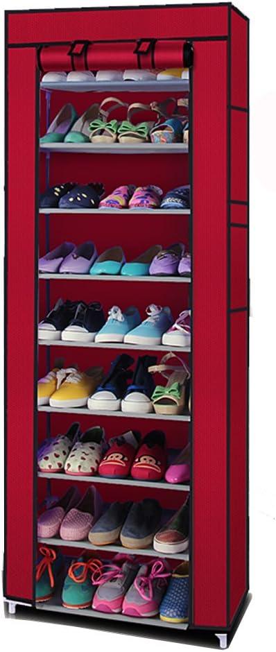 US 10 Tiers Shoe Rack with Dustproof Cover Closet Shoe Storage Cabinet Organizer