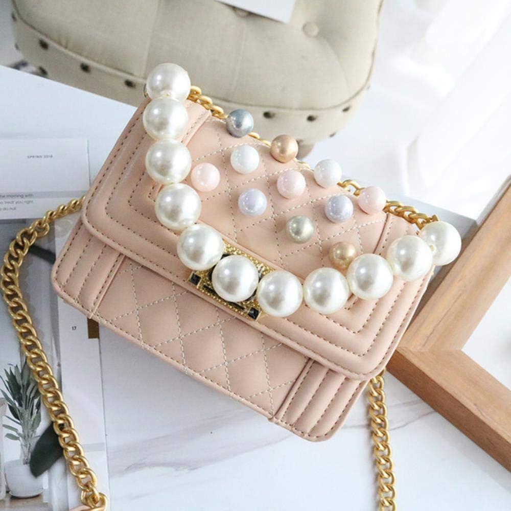 ABO - Bolso bandolera para mujer, diseño de cuadros, color perla Rosa