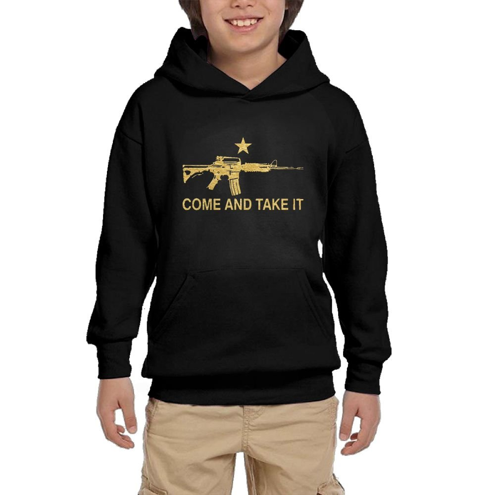 Youth Black Hoodie AR-15 Come and Take It Hoody Pullover Sweatshirt Pocket Pullover For Girls Boys M by Hapli