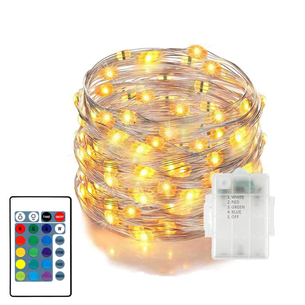 33ft/100 LED Outdoor String Lights with Remote Control, 4 Working Modes, 16 Colors Dimmable Waterproof Decorative Christmas Lights for Garden, Gate, Yard, Parties, Wedding, Bedroom Fairy Lights