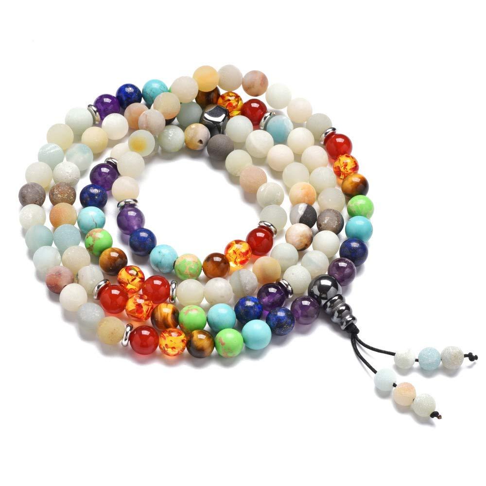 1a0e42627bb7 HOMEYU 8mm amazonita Turquesa Lava Roca curativa 108 oración Budista Mala  Beads Colgante 7 Chakra Collar Pulsera de Yoga  Amazon.es  Hogar