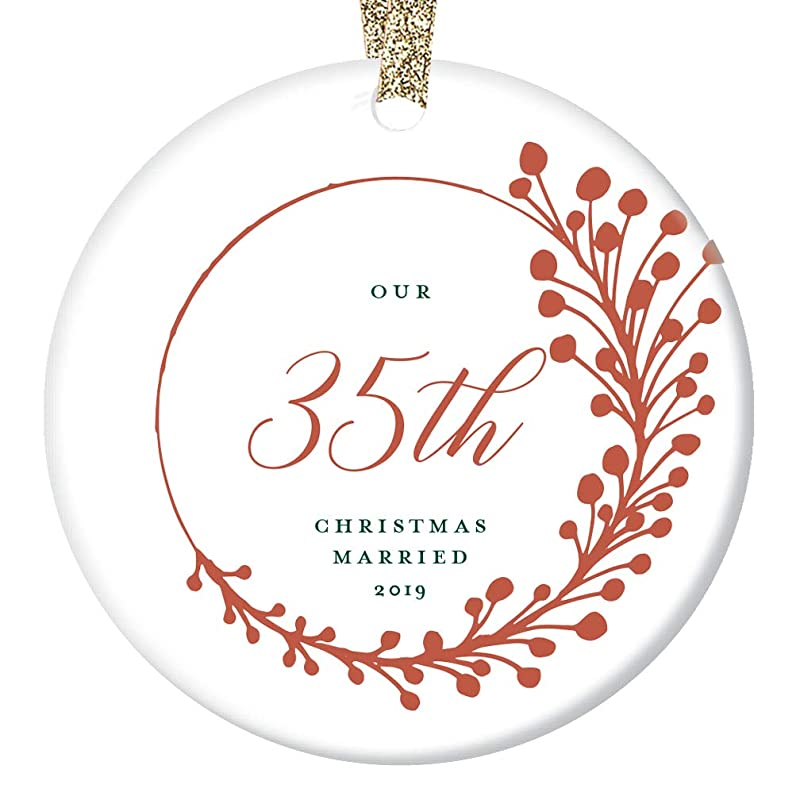 """35th Anniversary Christmas Ornament 2019 Dated Keepsake Thirty-Five 35 Years Married Gift Husband Wife Couple Wedding Memory Parents Grandparents Farmhouse Red Berry Ceramic 3/"""" Flat Circle Gold Ribbon"""