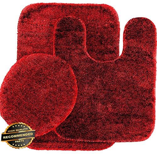 Florance Jones 3PC #6 Banded Bathroom Set Bath MAT Countour Rug LID Cover Plain Solid Colors | Style Mat-RG145302828