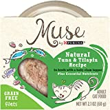 Muse by Purina Filets Grain-Free Natural Tuna & Tilapia Recipe in Broth With a Baby Clam Topper Adult Wet Cat Food - (10) 2.1 oz. Tubs