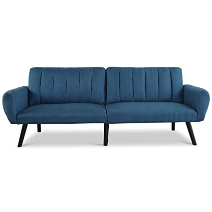 Giantex Futon Sofa Bed Folding Couch Convertible Mattress Premium Linen  Upholstery and Wooden Legs (Blue)