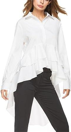 Kerlana Blusa Mujer Casual Manga Larga Color Sólido Camisa Personalizadas Camiseta Solapa Tops Cola De Milano Irregular: Amazon.es: Ropa y accesorios