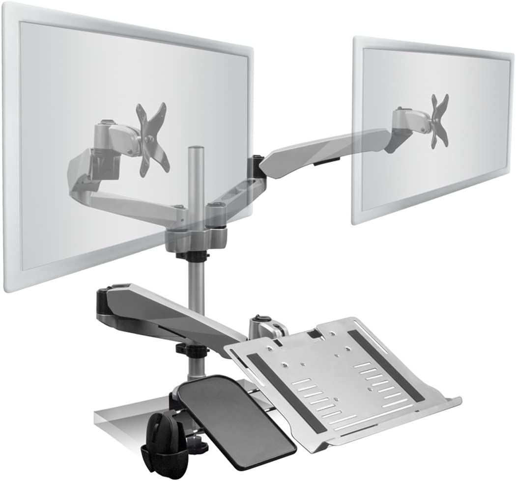 Mount-It! Dual Monitor and Laptop Desk Stand Mount with Mouse Pad Holder | 3 Gas Spring Arms | Fits Monitors up to 27 Inches | Laptop Notebook Tablet or Keyboard Tray Included | C-clamp Base | Silver