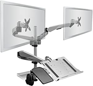 Mount-It! Dual Monitor Mount with Articulating Laptop Arm Desk Stand | Fits Two Monitors up to 27 Inches | Mouse Pad and Laptop Notebook Tablet or Keyboard Tray Included | Grommet Base | Silver