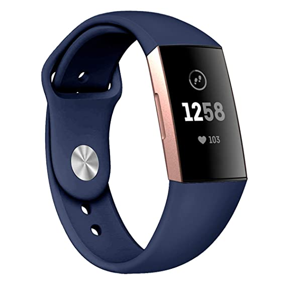 c6c48bba4 Compatible Fitbit Charge 3 Band Strap,Silicone Breathable Adjustable  Replacement Sport Strap Accessory Band Fitbit