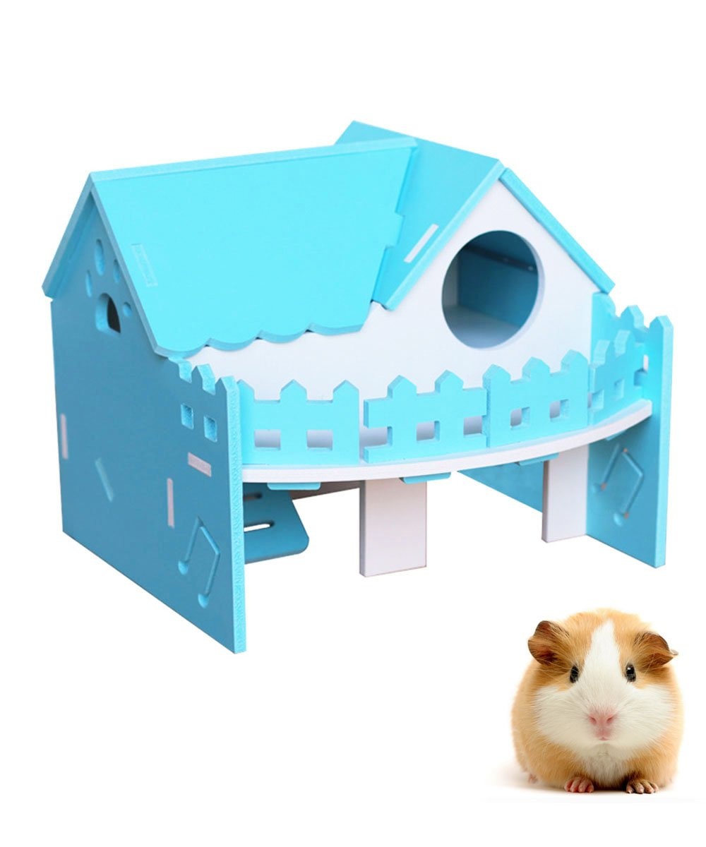 Hkim Hamster House, Wood Villa Hideout House Wooden Living Hut Cabin Play Toys for Syrian Hamster, Dwarf Hamster, Chinchilla, Mouse, Gerbil and Small Animals (Blue)