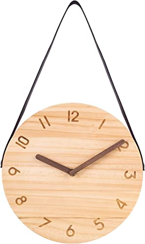 Adecor Wooden Wall Clock, 10-Inch Retro Decorative Clock with Hanging Strap, Silent Non-Ticking Round Clocks for Apartment, Bedroom, Living Room, Study, Kitchen, Cafe, Office – Light Wood